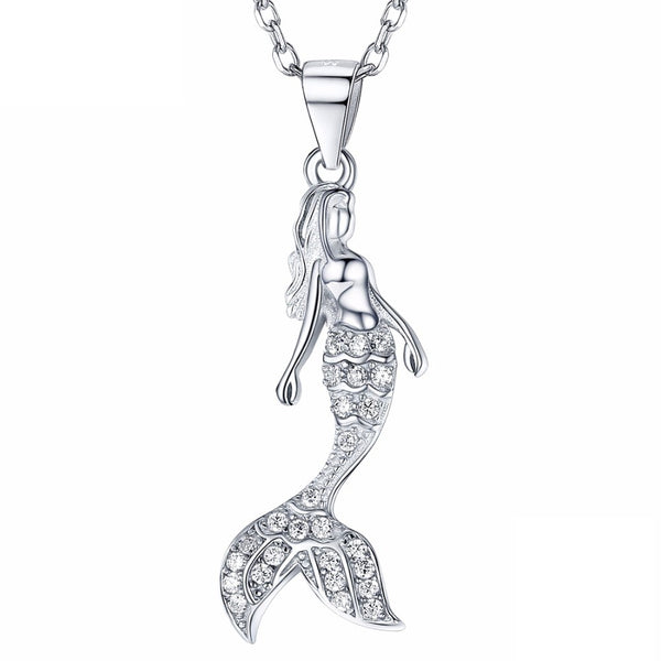 Mermaid Necklace Sterling Silver | Womens Mermaid Pendant w/ CZ