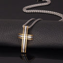 Men's Modern Cross Necklace - Gold / Silver