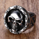 Motorcycle Chain Skull Ring for Men - Stainless Steel