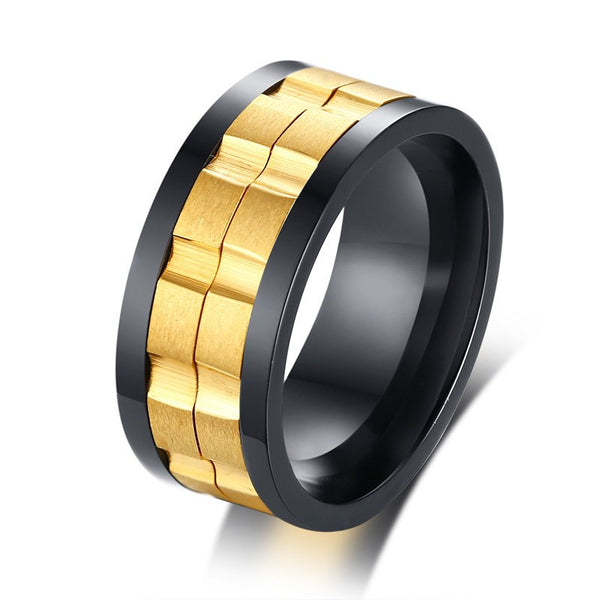 Movable Gear Spinner Ring for Men - Black