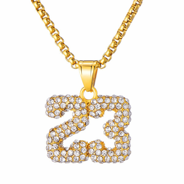 Number 23 Necklace Basketball Chain Pendant Gold Iced