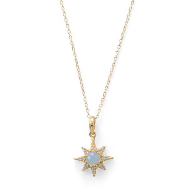 Opal Star Necklace | 14K Gold Plated Sterling Silver Pendant