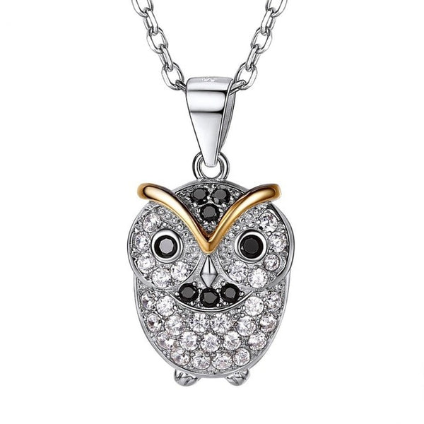 Owl Necklace Sterling Silver CZ Pave