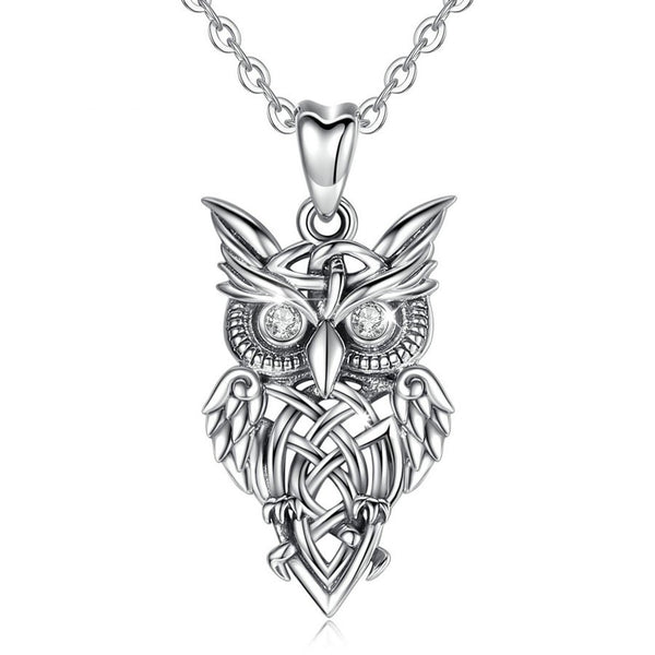 Owl Necklace Sterling Silver Womens