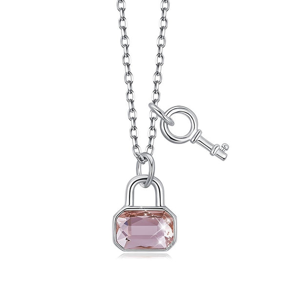 Padlock Necklace | Lock and Key Chain Pendant - Sterling Silver