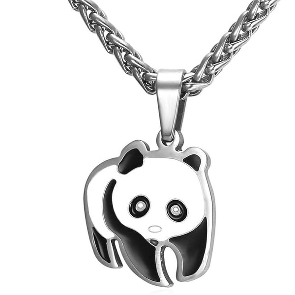 Silver Panda Necklace Pendant