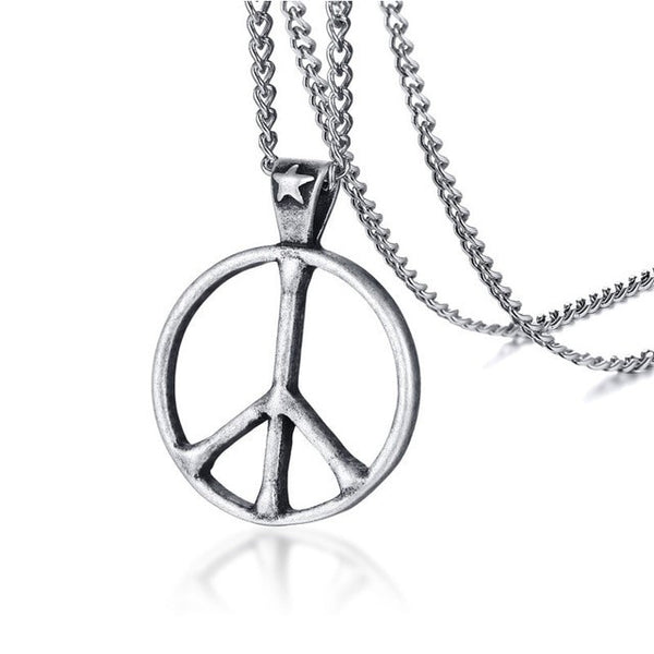 Peace Sign Necklace Silver Stainless Steel Retro