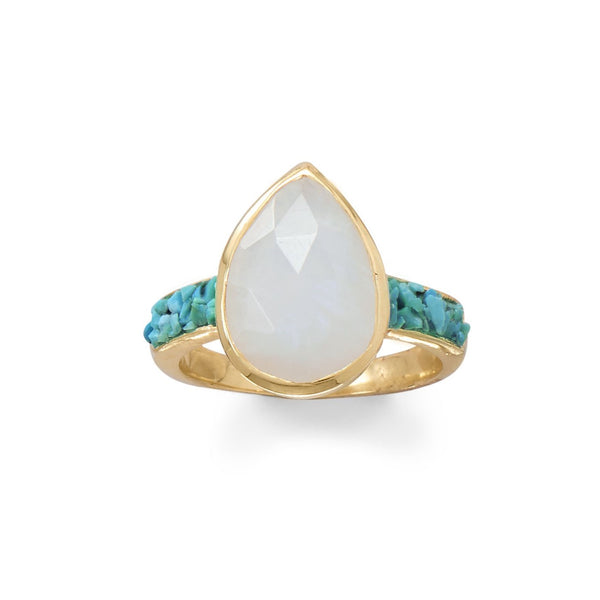 Pear Moonstone Ring w/ Turquoise | Sterling Silver, 14K Gold Plating