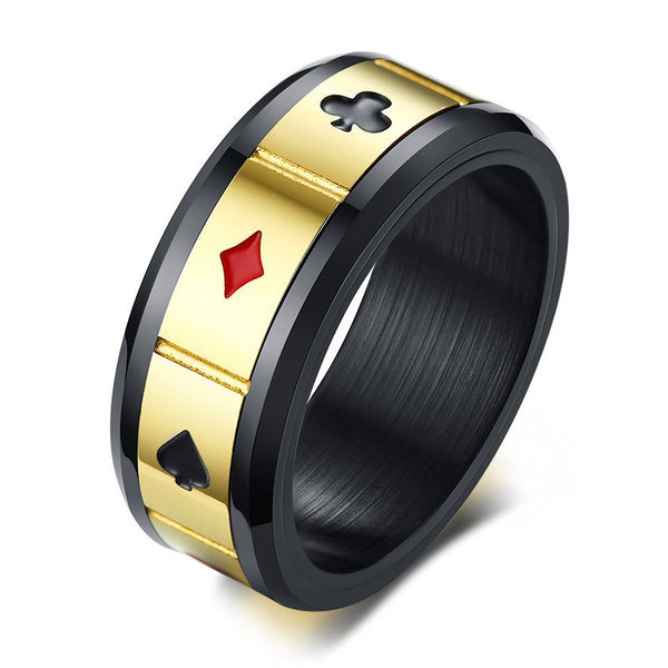 Playing Cards Stainless Steel Spinner Ring for Men