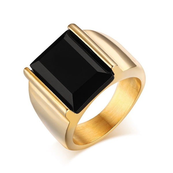 Rectangular Black Onyx Ring for Men - Gold