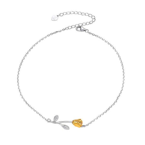 Womens Rose Anklet Sterling Silver