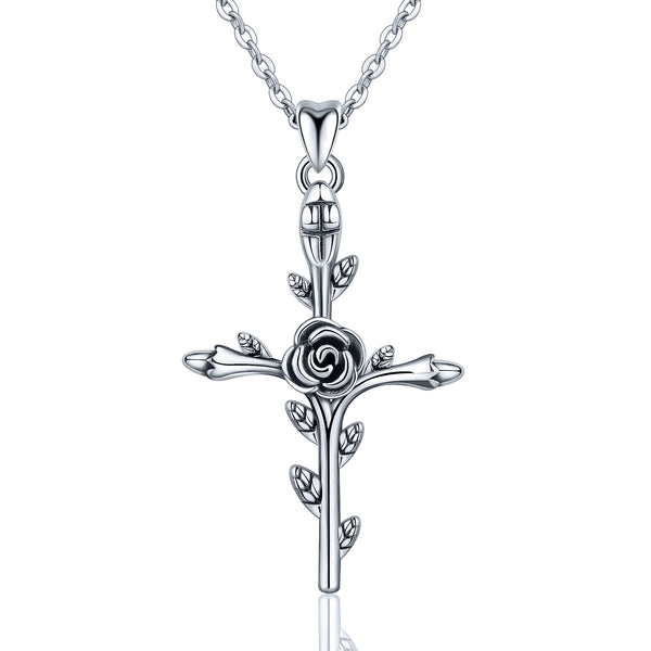 Womens Rose Cross Necklace Sterling Silver