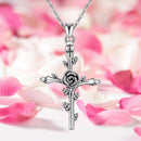 Sterling Silver Cross Necklace with Rose
