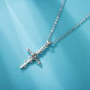 Womens Cross Necklace with Rose