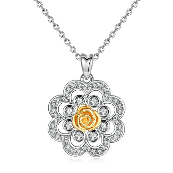 Flower Rose Necklace Sterling Silver