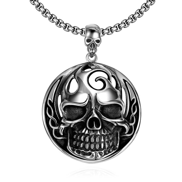 Round Skull Necklace Silver Stainless Steel