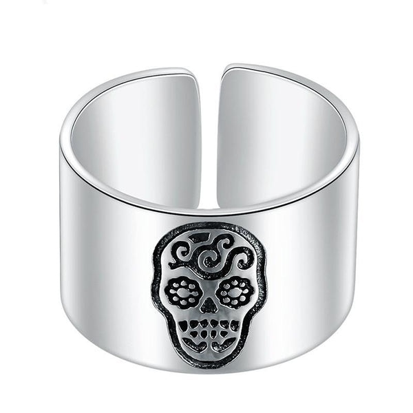 Skull Ring for Women Men - Sterling Silver Adjustable