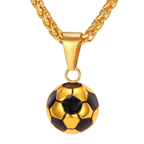 Soccer Necklace Stainless Steel Gold