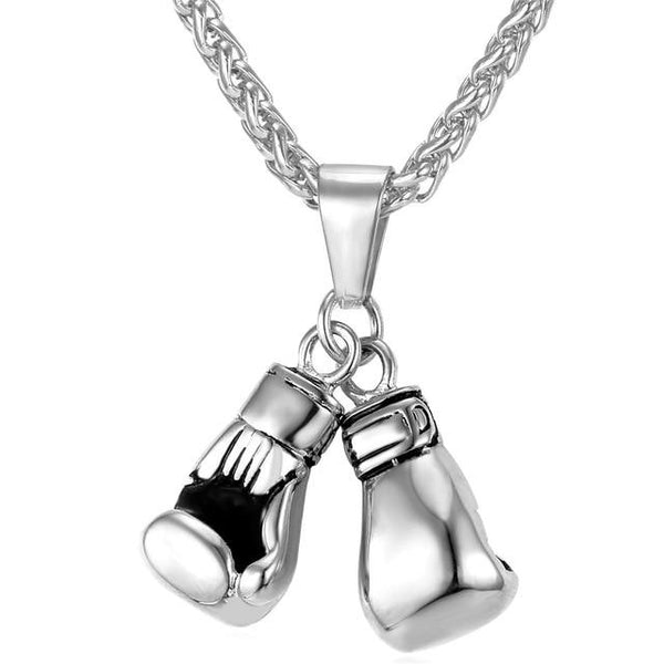 Stainless Steel Boxing Glove Necklace - Unplated Steel