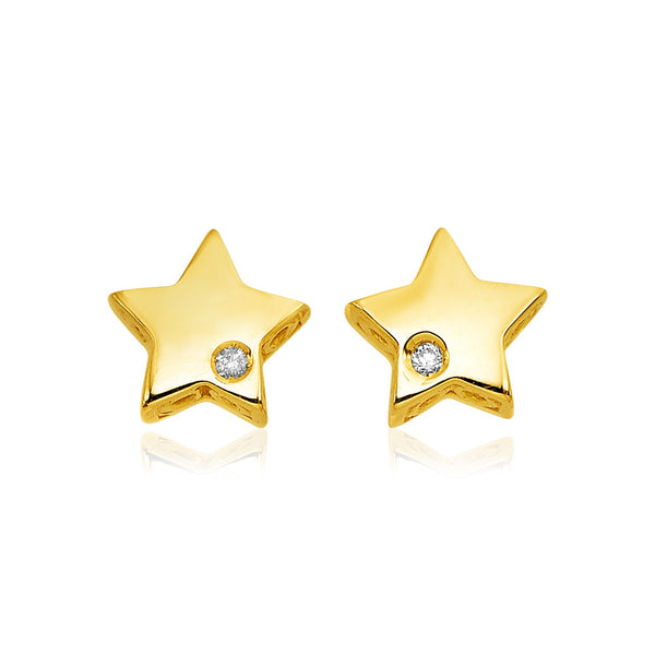 14K Gold Star Earrings Diamond Accent | Womens Stud Earrings