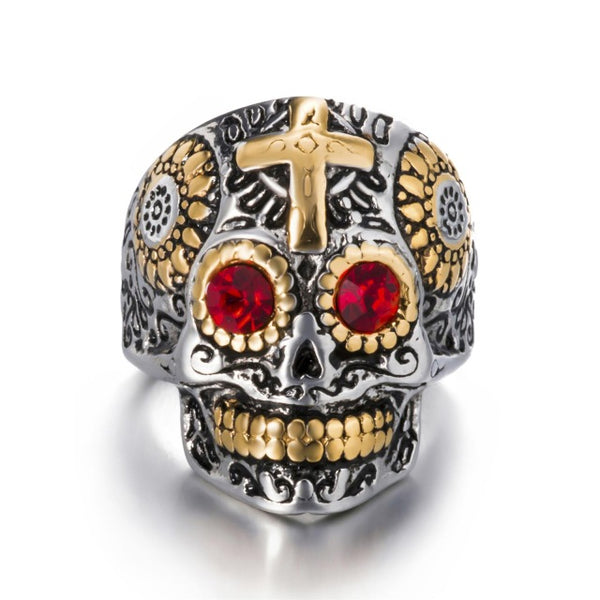 Mens Mexican Sugar Skull Ring Silver Gold