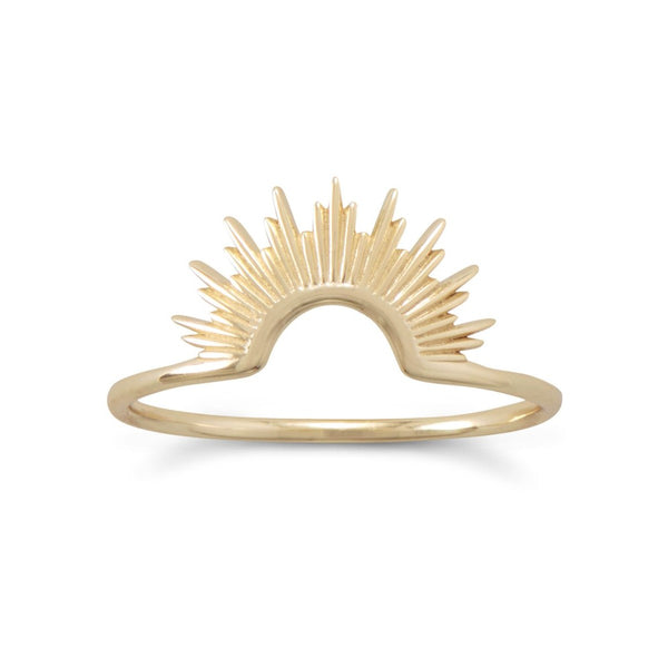 Gold Sun Ring in Sterling Silver [Stackable]
