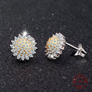 Sunflower Earrings Sterling Silver | Womens Stud Earrings w/ CZ