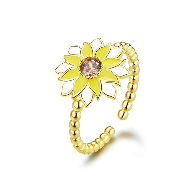 Gold Sunflower Ring Sterling Silver Adjustable