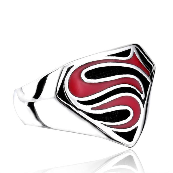 Superman Ring Stainless Steel Silver Red