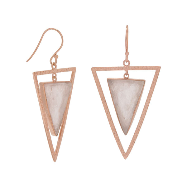 Triangle Rose Gold Quartz Earrings | Sterling Silver
