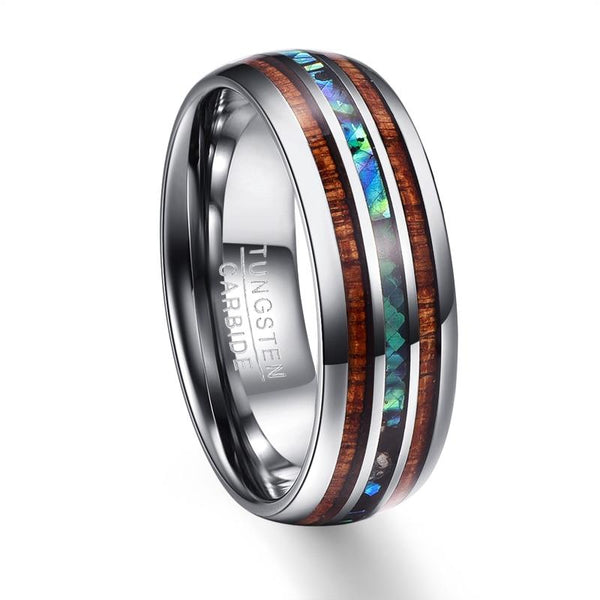 Inlay Koa Wood Tungsten Ring for Men