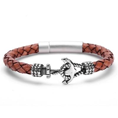 Vintage Brown Leather Anchor Bracelet - Men - Women