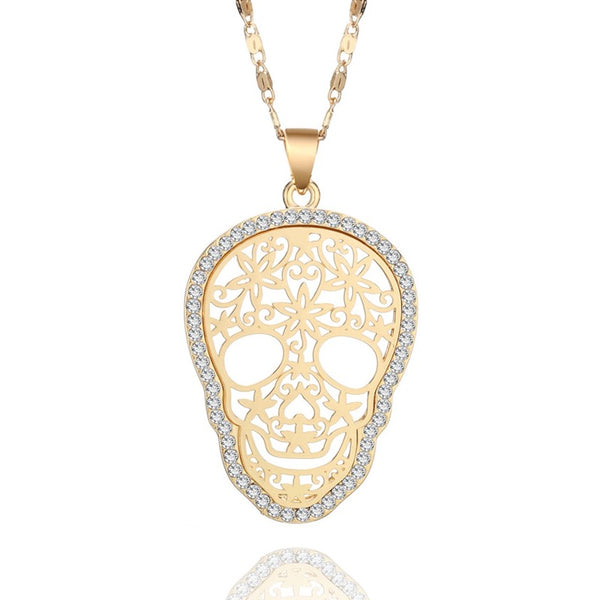 Womens Skull Necklace Gold Pendant Cut Out