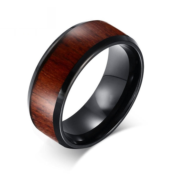 Wood Inlay Black Tungsten Carbide Ring for Men