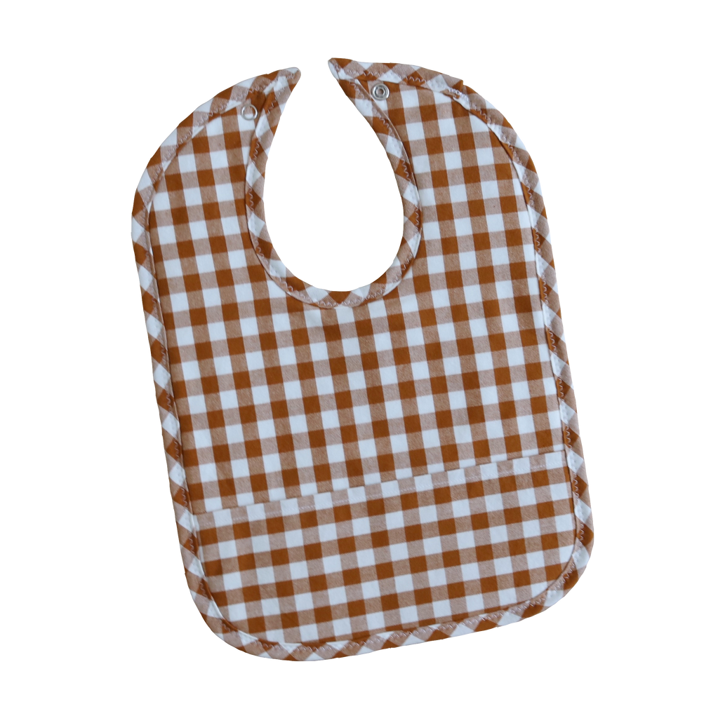 Cinnamon Gingham Pocket Bib