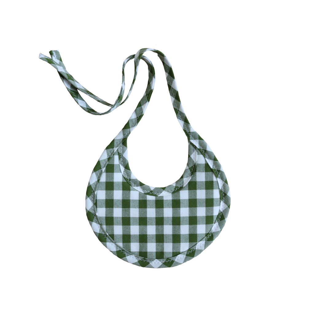 Evergreen Gingham Tie Drool Bib