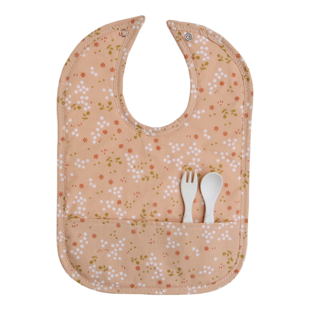 Peachy Keen Floral Pocket Bib