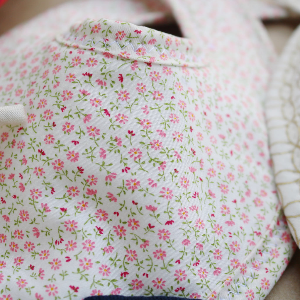 Pink Floral on White Drool Bib