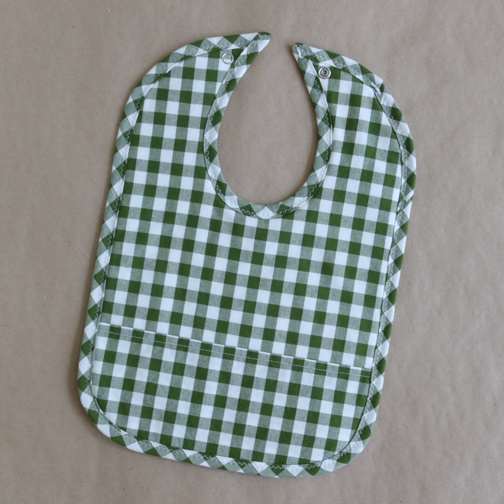 Evergreen Gingham Pocket Bib