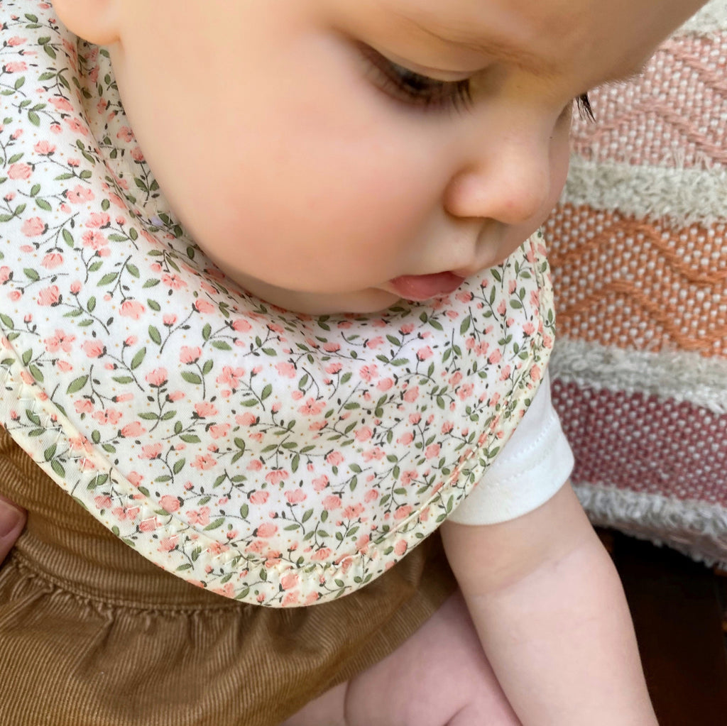 Pink Floral on Cream Drool Bib