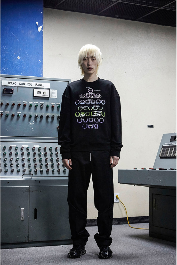 51PERCENT - UNCLASSIFIED LAUREL LOGO SWEATSHIRT BLACK - RAINBOW