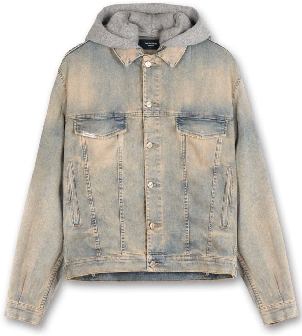 HOODED DENIM JACKET - PALE BLUE