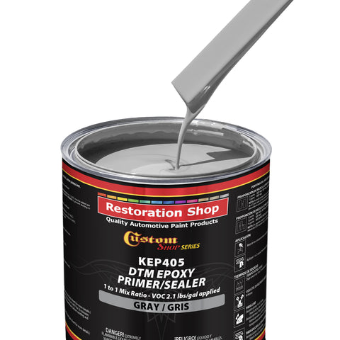 Gray Epoxy Primer/Sealer 2.1 VOC (2-Gallon Kit) Anti-Corrosive DTM High-Performance Primer for Automotive and Industrial use Kit = 1 Gal. Epoxy Primer +1 Gal. Epoxy Hardener (1-1 Mix)