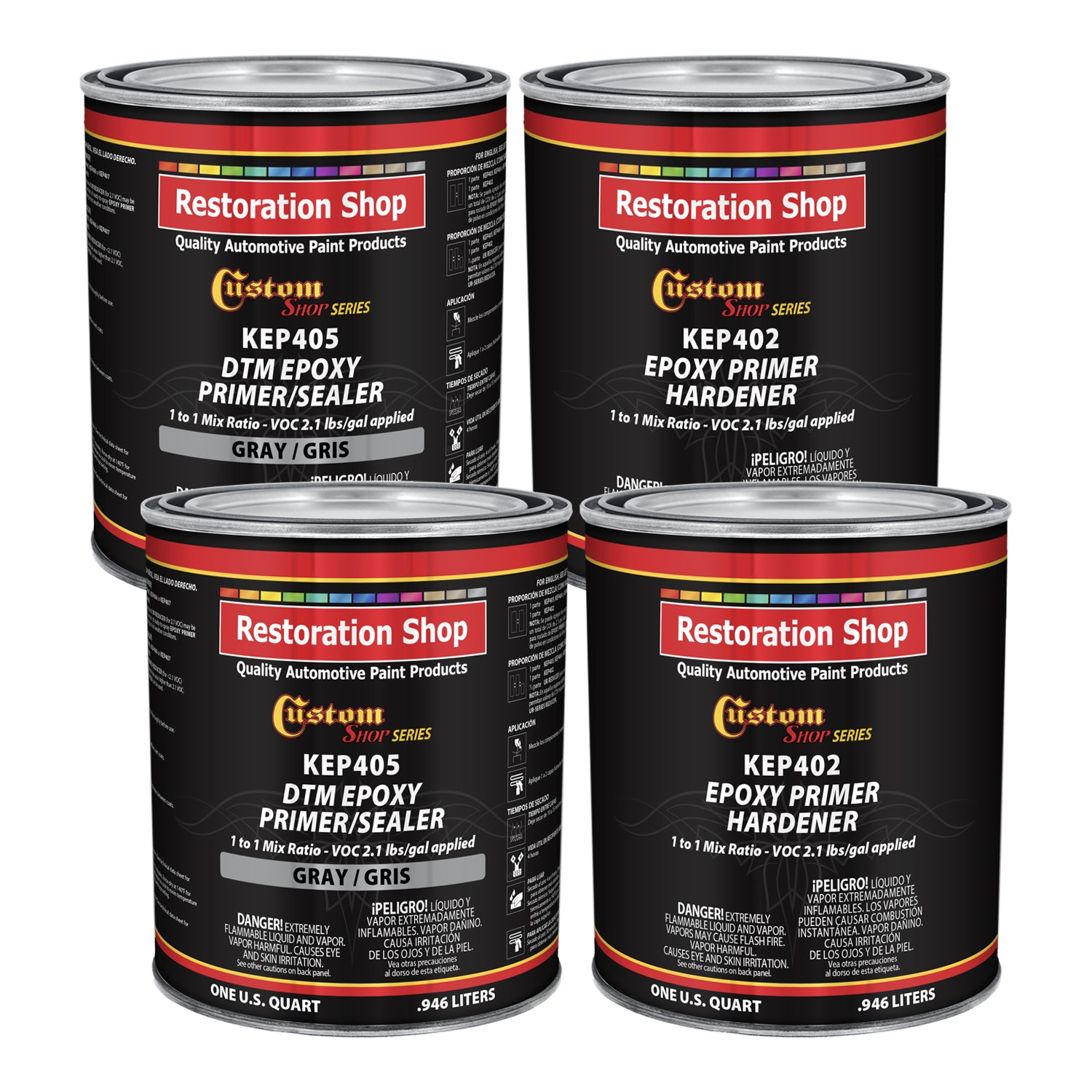 GRAY Epoxy Primer / Sealer 2.1 VOC (GALLON KIT) - Anti-Corrosive DTM Direct to Metal Fast Dry Primer
