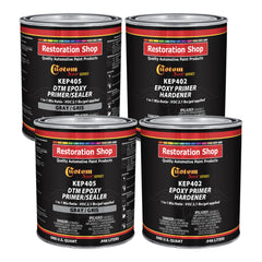 Gray Epoxy Primer/Sealer 2.1 VOC (Gallon Kit) Anti-Corrosive DTM High-Performance Primer for Automotive and Industrial use Kit = 2 Qt. Epoxy Primer + 2 Qt. Epoxy Hardener (1-1 Mix)