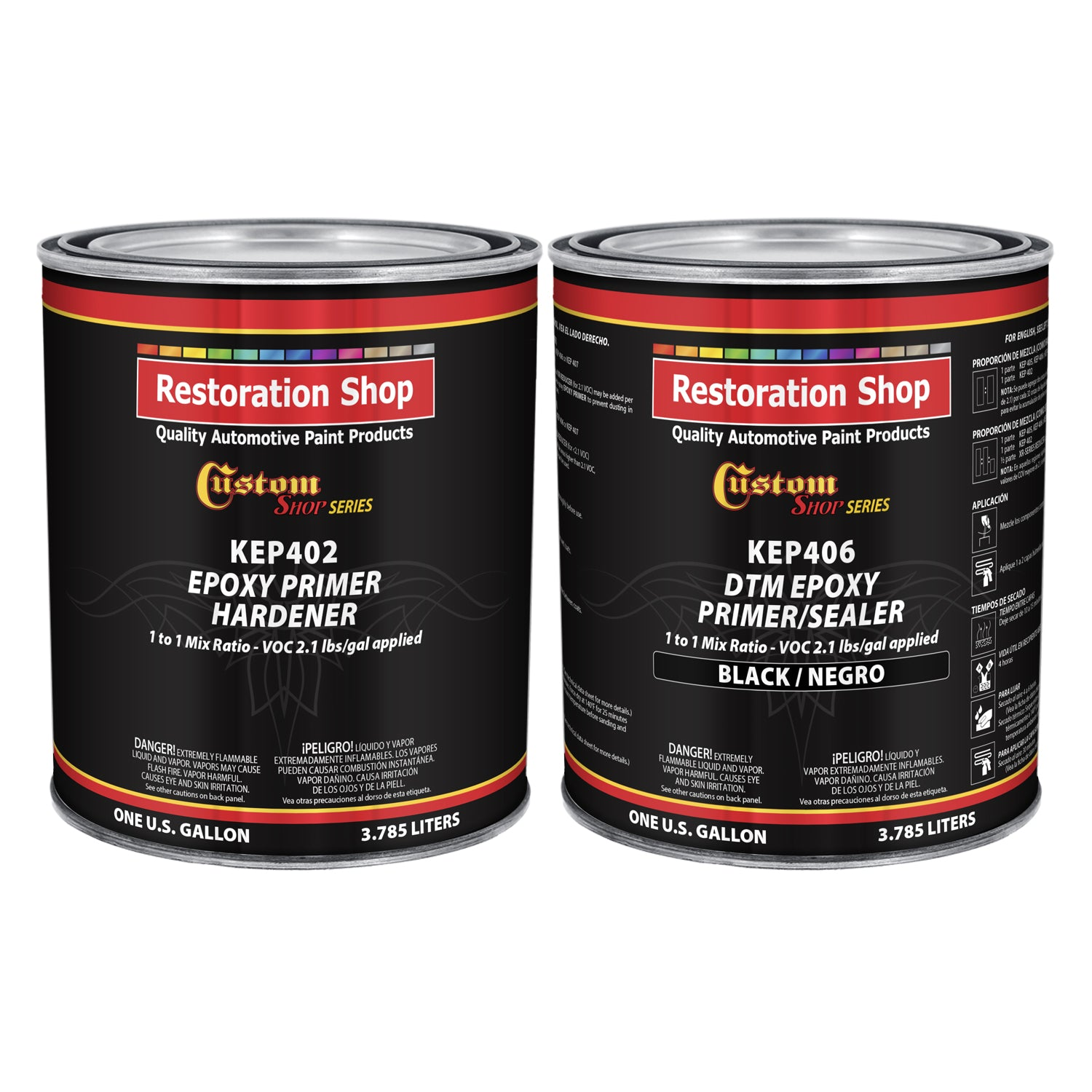 BLACK Epoxy Primer / Sealer 2.1 VOC (2-GALLON KIT) - Anti-Corrosive DTM Direct to Metal Fast Dry Primer