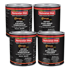 Black Epoxy Primer/Sealer 2.1 VOC (Gallon Kit) Anti-Corrosive DTM High-Performance Primer for Automotive and Industrial use Kit = 2 Qt. Epoxy Primer + 2 Qt. Epoxy Hardener (1-1 Mix)