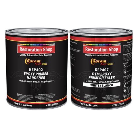 White Epoxy Primer/Sealer 2.1 VOC (2-Gallon Kit) Anti-Corrosive DTM High-Performance Primer for Automotive and Industrial use Kit= 1 Gal. Epoxy Primer +1 Gal. Epoxy Hardener (1-1 Mix)