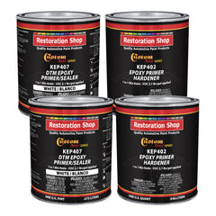 White Epoxy Primer/Sealer 2.1 VOC (Gallon Kit) Anti-Corrosive DTM High-Performance Primer for Automotive and Industrial use Kit = 2 Qt. Epoxy Primer + 2 Qt. Epoxy Hardener (1-1 Mix)