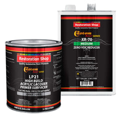 Premium High Build Acrylic Lacquer Primer Surfacer & 0 VOC Compliant Reducer, 1 Gallon Kit - Fast Filling, Drying, Easy Sanding, Excellent Adhesion - Apply Over Metal Steel, Body Filler Putties, Automotive Industrial